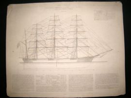 Paris Marine C1890 LG Folio Print. Clipper Great Republic Constructed at Boston